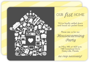 Fun Icons & Stripe Housewarming Party Invitation