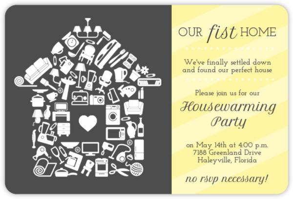 Fun Icons Stripe Housewarming Party Invitation
