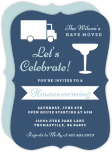 Moving Truck and Cocktail Housewarming Invitation