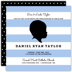 Modern Baby Boy Silhoutte Christening Invitation