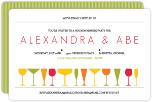 Modern Colorful Drinks Housewarming Invitation