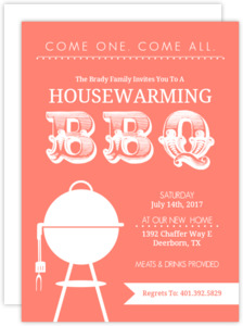 Coral Modern BBQ  set  Housewarming Invitation