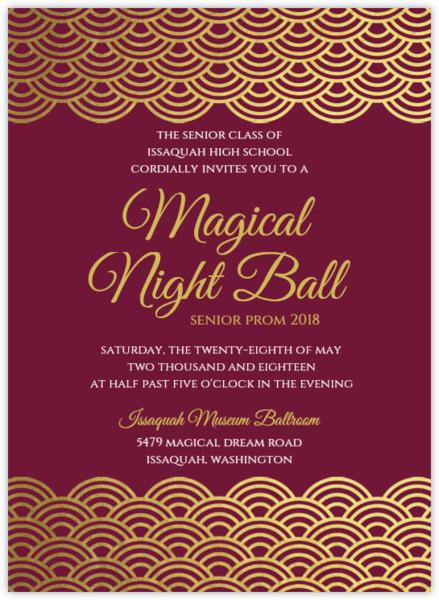 Elegant Gold Foil Scallop Prom Invitation ...  Prom Invitation Templates