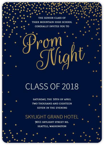 Golden Confetti Stars Prom Invitation | Prom Invitations
