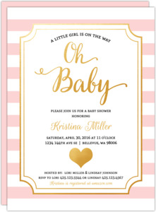 Modern Chic Pink Girl Baby Shower Invitation