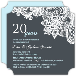 Lovely White Lace 20th Anniversary Invitation