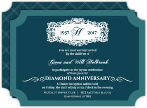 Elegant Filigree Frame Diamond 60th Anniversary Invitation
