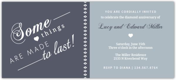 Two Tone Gray Diamond Anniversary Invitation