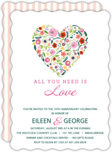 Floral Heart 10th Anniversary Invitation
