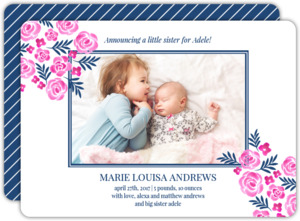 Sweet Watercolor Floral Birth Announcement