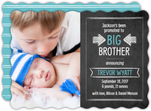 Big Promotion Sibling Birth Announcement