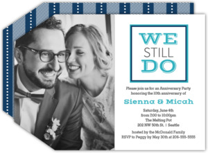 Modern Text Photo Anniversary Party Invitation