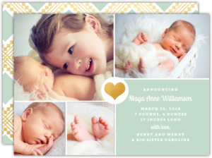 Mint and Gold Heart Photo Birth Announcement