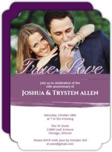 Purple Painted Anniversary Party Invitaton