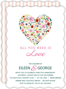 Floral Heart 25th Anniversary Invitation