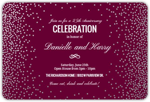 Silver Foil Confetti Anniversary Party Invitation