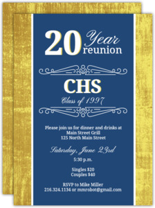 Classic Colors 20 Year Class Reunion Invitation