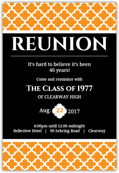 High school college class reunion invitations black and orange 40 year class reunion invitation stopboris Images