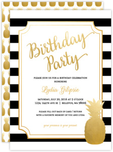 Modern Chic Pink Pineapple Birthday Party Invitation