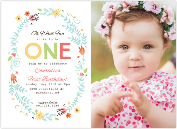 floral spring frame first birthday invitation first birthday
