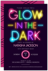 Glow In The Dark Typography Birthday Party Invitation