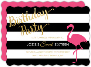 Flamingo Chic Sweet Sixteen Birthday Party Invitation