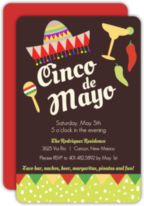 Fiesta Confetti and Flags Cinco De Mayo Party Invitation