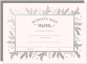 Best Mom Certificate Mothers Day Card