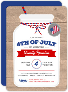Country Mason Jar 4th of July Party Invitation