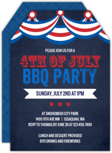 Patriotic Flag Chalkboard Fourth of July Party Invitation