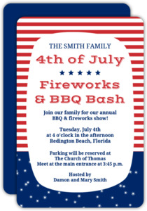 Patriotic Red and Blue BBQ 4th of July Party Invitation