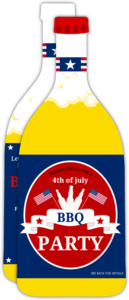 Festive Beer Bottle 4th of July Party Invitations