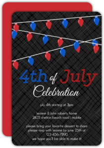 Patriotic Hanging Lights 4th of July Party Invitation