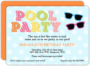 Colorful Sunglasses Pool Party invitation