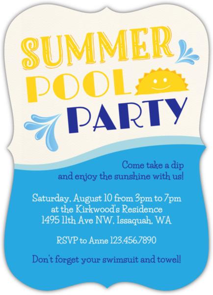 Sunny Summer Pool Party Invitation