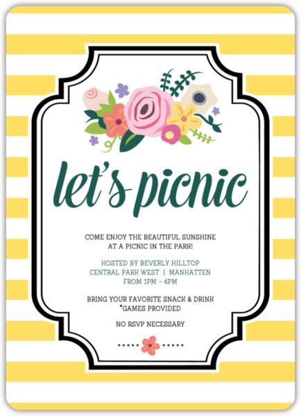 bright florals picnic summer invitation summer party invitations