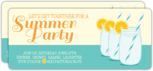 Retro Mason Jar Summer Party Invitation