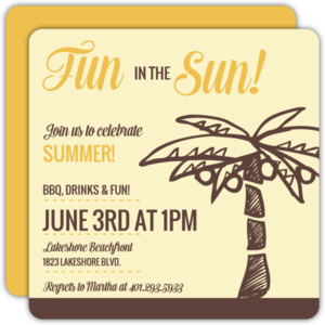 Brown Palm Tree Summer Party Invitation