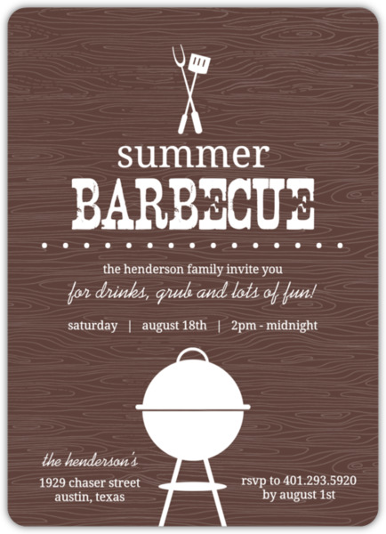 brown western bbq summer party invitation summer party invitations