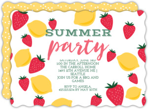 Strawberry Lemonade Summer Party Invitation