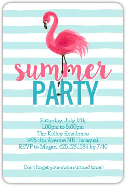 Flamingo Stripes Summer Party Invitation