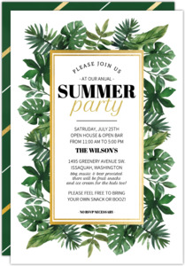 Tropical Watercolor Greenery Summer Party Invitation