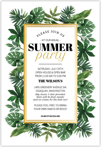 tropical watercolor greenery summer party invitation summer party