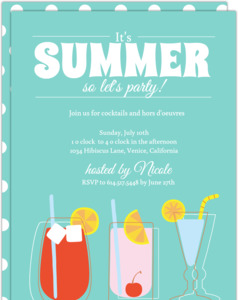 Blue Summer Cocktail Party Invite