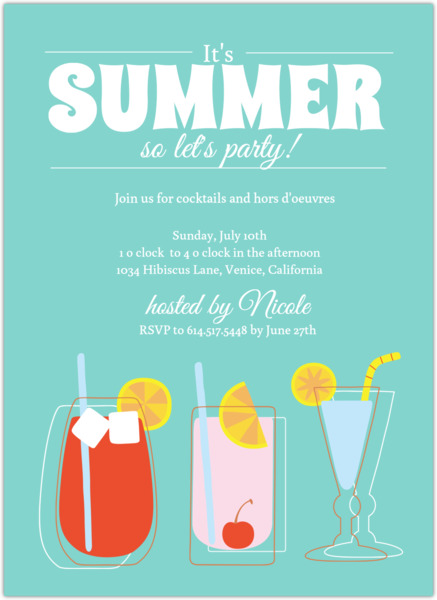 Blue Summer Cocktail Party Invite Summer Party Invitations