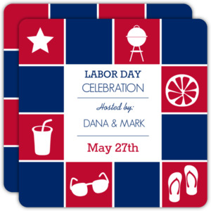 Red White and Blue Summer Icons Labor Day Invite