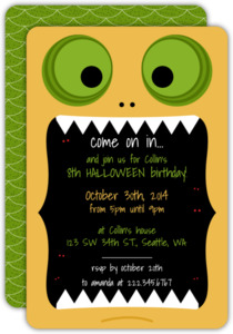 Monster Halloween Birthday Invitaion