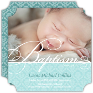Soft Damask Photo Baptism Invitation