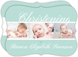 Simple Textured Christening Photo Invitation