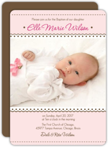 Lace Photo Baptism Invitation
